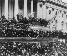 "The only known photo of Abraham Lincoln's second inaugural address. John Wilkes Booth can be seen in the center of the top row of the top platform. March 1865 [[MORE]] Blodje: ""Photo highlighting Boothe's position relative to Lincoln's "" American Presidents, American Civil War, American History, American Union, Greatest Presidents, Abraham Lincoln, History Photos, Us History, Lincoln Assassination"