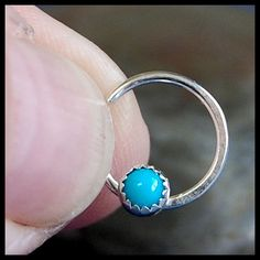 Turquoise Nose Ring / Catchless Nose Hoop / Seamless Nose Ring - CUSTOMIZE
