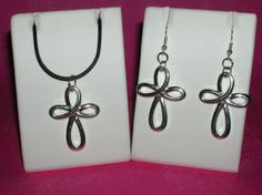 Silver Celtic Knot Cross Necklace And Earring by MacyLeeJewelry, $4.00