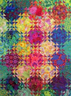 Check out this intersting Patchwork Quilts - what an original design and development Batik Quilts, Scrappy Quilts, 3d Quilts, Patchwork Quilting, Star Quilts, Quilting Projects, Quilting Designs, Triangle Quilt Pattern, Watercolor Quilt