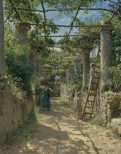 """Peder Mørk Mønsted (1859 - 1941), """"A la sombra de una pérgola italiana"""" (1884)."""