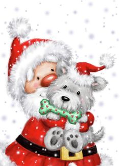 Santa And Dog Mixed Media - Santa And Dog by Makiko Printable Christmas Cards, Christmas Clipart, Christmas Animals, Plaid Christmas, Christmas Greeting Cards, Christmas Pictures, Christmas Art, All Things Christmas, Vintage Christmas