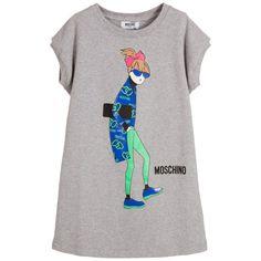 Moschino Grey Cotton Sweatshirt Dress with Girl Print at Childrensalon.com