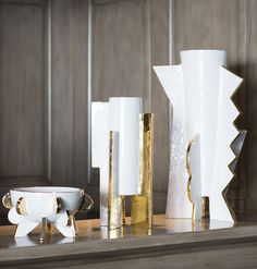 KELLY WEARSTLER   LIMITED EDITION ABSTRACT CERAMICS. Sophisticate one of a kind luxury homeware with 22k gold detailing
