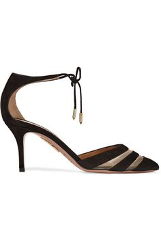 Heel measures approximately 75mm/ 3 inches Black suede, beige mesh Ties at ankle Made in Italy