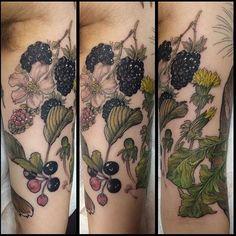 @kate_selkie created this beautiful berry filled tattoo on Frej last week. #tattooworkshop #brightontattoo #berrytattoo #floraltattoo #brightonandhove #londonroadbrighton