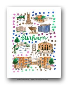 Durham, NC Map Print