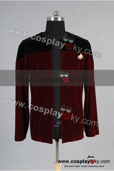 Star Trek Picard Black Red Velvet Jacket Costume-2