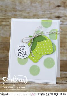 Lemon or Lime, Stampin' Up! Orange Blossom fun polka dot background using Lemon Lime Twist ink onto Whisper White Kimberly VanDiepen Pretty Cards, Cute Cards, Birthday Thank You, Birthday Cards, Polka Dot Background, Stampin Up Catalog, Get Well Cards, Stamping Up, Homemade Cards