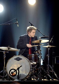 Hunter playing drums for Stevie Wonder