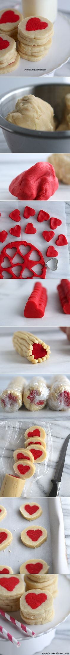 Slice n' Bake Valentine Heart Cookies - Awesome cookies to give as valentine's gifts. | Recipe by laurenslatest.com