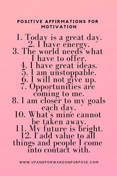 Affirmations for motivation. Affirmations For Women, Positive Affirmations Quotes, Self Love Affirmations, Morning Affirmations, Affirmation Quotes, Positive Quotes, Affirmations Confidence, Prosperity Affirmations, Positive Self Talk