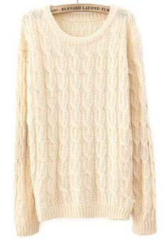 Beige Long Sleeve Patched Suede Elbow Cable Knit Sweater pictures