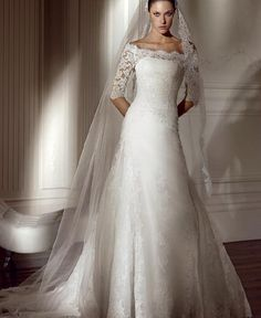 Elegant Long Sleeves Off the Shoulder Wedding Dresses