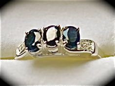 Black Sapphire oval 3 stone Nickel Free Sterling Silver  Size 9      $30.00