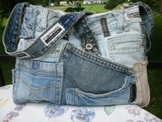Medium Bag Of Pockets in Blue Denim with Upcycled by upanddyed,