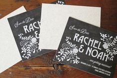 Linen + Chalkboard Wedding Invitations by Blue Magpie (7)