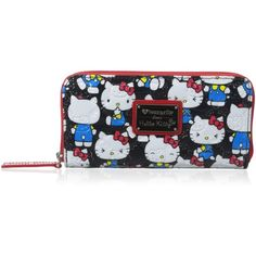 Hello Kitty Patent Zip Around Wallet ($40) ❤ liked on Polyvore featuring bags, wallets, pocket bag, pocket wallet, hello kitty, black bag and black wallet