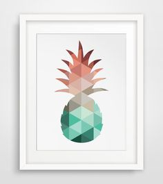 Pineapple Print, Mint and Coral, Pineapple Art, Summer Art, Summer Print, Mint Art, Coral Art, Coral Mint, Pineapple Wall Art, Wall Print