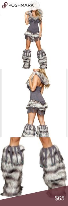 Women's Sexy grey Eskimo/Indian costume! L Brand new and still in the package! Bought for $129 last year and ended up buying a different costume. Comes with the furry leg warmers! Very sexy! Runs more like a M/L Halloween Other