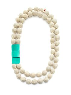 Marni Beige Cotton Bead Double Layer Necklace
