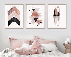 Trending Now Art, Set of 3 prints, Blush Pink, Rose Gold, 3 Set, Minimalist Poster, Scandinavian Modern, Scandinavian Print, Geometric Print