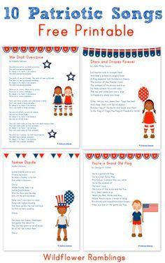 10 Patriotic Songs for Children {free printable!} - Wildflower Ramblings 10 Patriotic Songs for Children (free printable) from Wildflower Ramblings Preschool Music, Teaching Music, Preschool Ideas, Preschool Bulletin, Craft Ideas, Teaching Reading, Veterans Day Songs, American Heritage Girls, American Flag