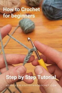 Diy Crochet For Beginners, Beginner Crochet Tutorial, Crochet Instructions, Crochet Basics, Knitting Beginners, Step By Step Crochet, Crochet Tutorials, Easy Crochet Stitches, Crochet Yarn