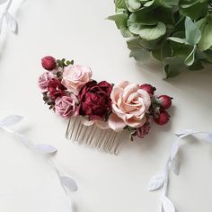Blush pink Burgundy flower comb Dusty rose Burgundy flower