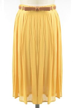 Skirt - Proper Introduction Belted Pleat Midi Skirt in Mustard