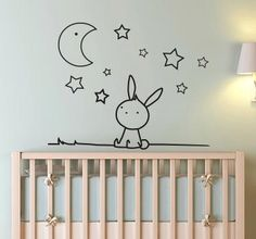 Lovely monochrome kids wall sticker of a bunny looking up at the stars and moon in the sky, perfect for decorating the nursery, child's bedroom or play area to create a calming and friendly atmosphere. Star Nursery, Baby Nursery Decor, Baby Bedroom, Baby Boy Rooms, Kids Bedroom, Wall Stickers Uk, Pastel Room, Kids Room Paint, Inspiration Wall