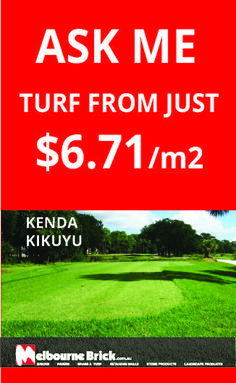 Fantastic specials on Kenda Kikuyu Turf from Melbourne Brick– durable and low maintenance. grows more vertical than horizontal and good winter colour. From just $6.71 per m2. Call 1300 722 102 Now or visit our website for more information http://www.melbournebrick.com.au/grass-and-turf/lawn-turf