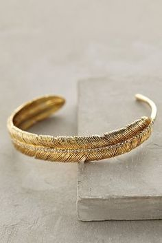 Anthropologie Feathered Cuff - women's jewelry (gold bracelet, fashion accessories)