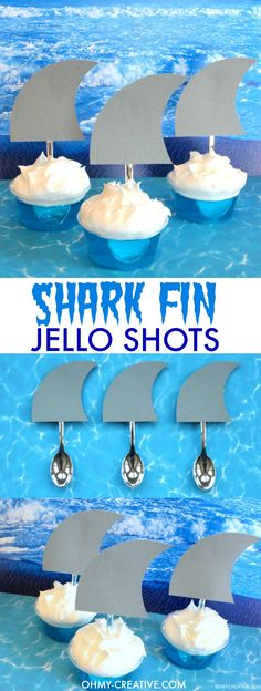 These SHARK FIN JELLO SHOTS are perfect for Shark Week, Jimmy Buffett fins shots, shark party dessert drinks and pool parties! Super easy to make and a creative party jello shot for summer!  |  OHMY-CREATIVE.COM