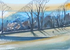 A watercolour inspired by distant blues and shadows in Sudley Park in South Liverpool. SOLD