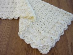 Crochet Baby Blanket Crib Size Heirloom Lace Boutique Quality Baby Afghan Soft Ivory Off White with Ribbon Trim - Direct Checkout by pegsyarncreations on Etsy