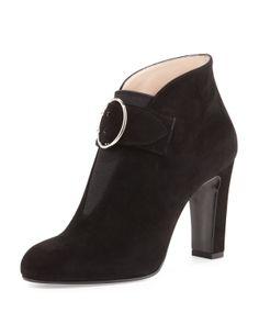 Prada Suede Buckle-Strap Ankle Boot, Black - Neiman Marcus