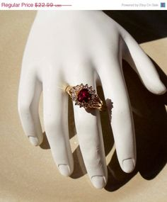 Vintage 14K Gold HGE Pink Ruby Ring by PaganCellarJewelry on Etsy, $18.39