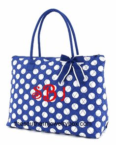 PERSONALIZED QUILTED BAGS, TOTES AND LUGGAGE SETS - Royal Blue and White - CLICK TO SEE SELECTION