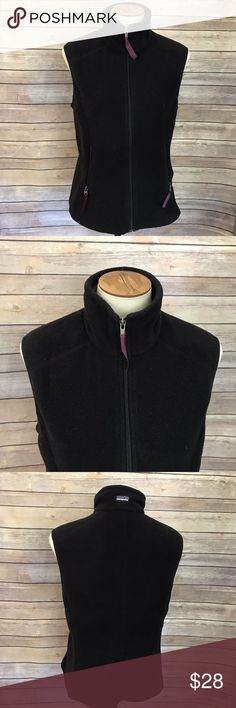 "Patagonia Synchilla Black Fleece Vest Size M Patagonia Synchilla Women's Fleece Vest Size M, Black Full Zip.  Good condition, has some pilling/fuzzies.  Measurements: Bust: 38"" Length: 22""  *All measurements are approximate with item lying flat.   *We ship out M-F. If you purchase your item on Friday it will ship out Monday.  Stock #1559 Patagonia Jackets & Coats Vests"