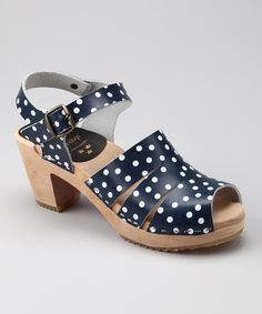 Take a look at this Navy & White Polka Dot Sandal - Women by Cape Clogs on #zulily today!