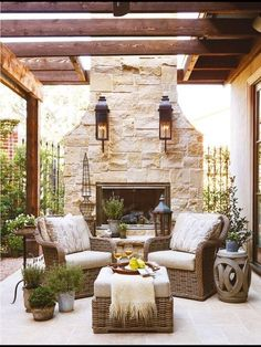 Beautiful outdoor fireplace back yard living space.
