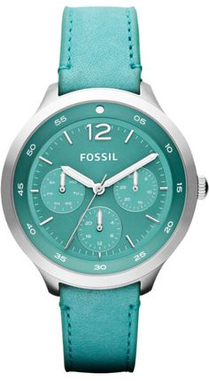 The Editor Multifunction Leather Watch - Aqua #ES3243