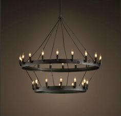 Black Candle Chandelier: Black Candle Chandelier: Buy [ Core ] Grand American country nostalgic black wrought iron candle,Lighting