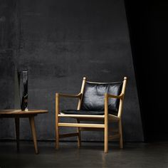 CH44 LOUNGE CHAIR / FRAME Oak oil  SEAT Natural papercord / CUSHION SIF leather black