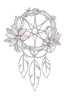 coloring pages 3 dreamcatchers 3 colouring in fantasy artworks for scrapbooking adults kids digital stamps printable jpg files dreamcatcher - Dream Catcher Coloring Pages