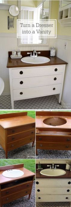DIY Bathroom Vanity with Drawers for Storage: Get an old table from your garage or at a flea market, trace the sink hole, lay a sink in the opening. Creative and Easy DIY Furniture Hacks Diy Bathroom Furniture, Diy Furniture Hacks, Repurposed Furniture, Furniture Makeover, Bedroom Furniture, Diy Bedroom, Antique Furniture, Furniture Design, Dresser Furniture