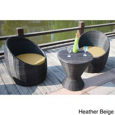 Sweet relaxation is yours with the Bellini Home and Gardens Macan Wicker 3 Piece Patio Chat Set . The modern egg chair concept comes into play with. Contemporary Outdoor Decor, Modern Outdoor Furniture, Garden Furniture, Cafe Chairs, Patio Chairs, Beach Chairs, Outdoor Cushions, Outdoor Sofa, Lounge Seating