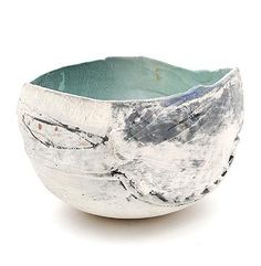 Partly glazed earthenware bowl design execution by Petri Voet 1943 - in own studio the Netherlands 1991