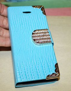 myLife (TM) Cyan Blue Rhinestone Crocodile Design - Textured Koskin Faux Leather (Card and ID Holder + Magnetic Detachable Closing) Slim Wal...